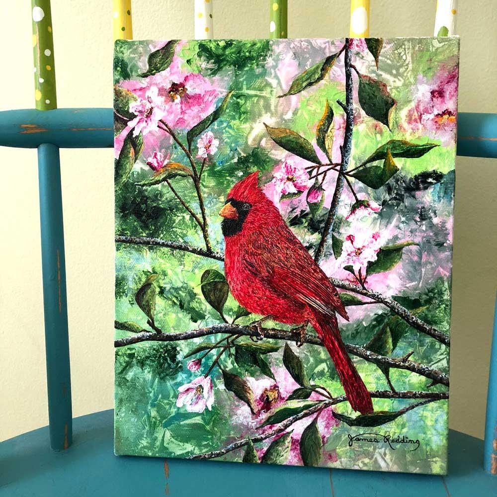 cherry-blossom-cardinal-home-decor
